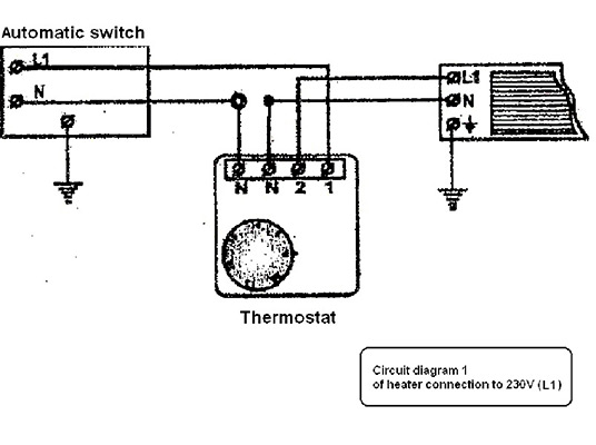 CONNECTION OPTIONS of the thermostat with total load up to 3,5 kW