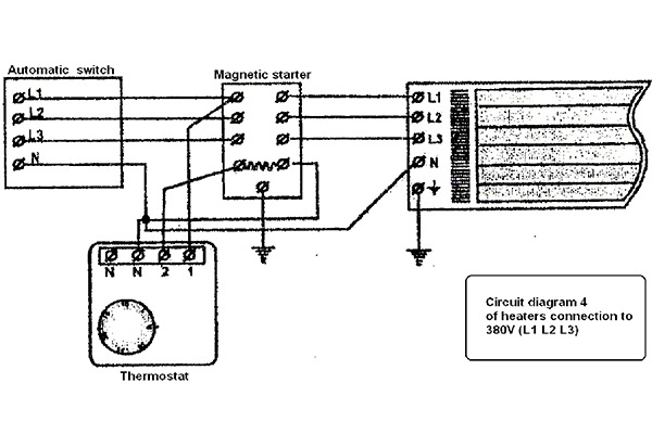 CONNECTION OPTIONS of the thermostat with total load above to 3,5 kW